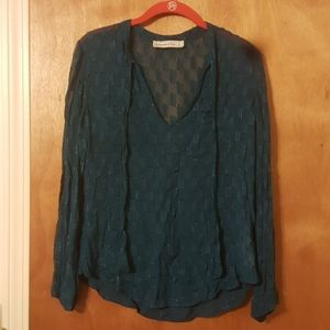 Abercrombie & Fitch Teal/Silver Pop Over Blouse